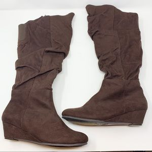 New Comfortview Brown Slouchy Wedge Knee High Boot
